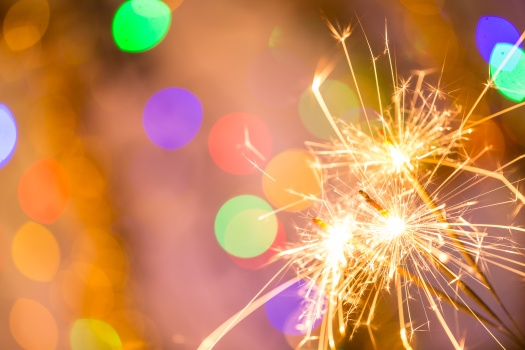 Colorful sparkler, close-up.