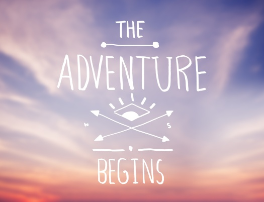 Bright Pink Sky with Adventure Quote