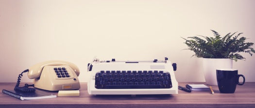 Vintage typewriter and phone office