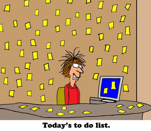 Business cartoon about to do list.
