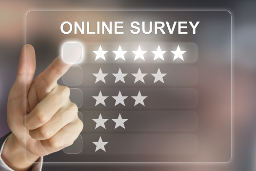 business hand pushing online survey on virtual screen